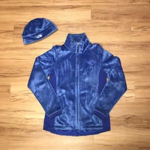 North face fleece jacket and hat